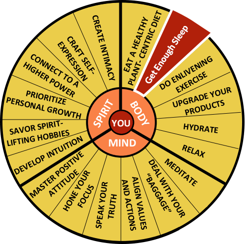 The Well-Being Wheel Graphic Spoke 2: Get Enough Sleep