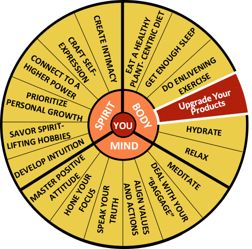 The Well-Being Wheel Graphic Spoke 4: Upgrade Your Products.